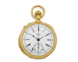 59. patek philippe | retailed by tiffany & co: a fine yellow gold split second chronograph minute repeating watchmade in 1892