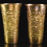 6. two sicán gold beakers, ca. a.d. 950-1250