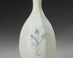 50. a korean blue and whitefaceted bottle vase joseondynasty, 18th century