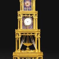 48. a george iii ormolu, geneva enamel and paste-set musical automaton quarter striking tower clock for the chinese market, london, circa 1790