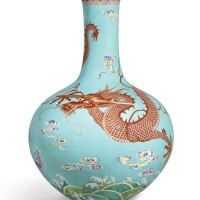 3614. an extremely rare large turquoise-ground yangcai 'dragon' vase, tianqiuping seal mark and period of qianlong |