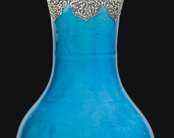 192. a kangxi turquoise-glazed vase with silver lid, china for the export market, 17th century