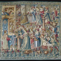 13. a flemish renaissance tapestry, `david receives bathsheba and the departure of uriah', from the story of david, brussels workshop, possibly after jan van roome (fl. 1498-1521) first quarter 16th century, circa 1515-1525