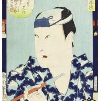 42. utagawa toyokuni i (1769–1825)ichikawa omezo as hanagawado no sukerokuchobunsai eisui (1756–1829) ohan and choemonutagawa toyohiro (1773–1828) a single sheet of a triptych: the sixth month (rokugatsu, sanmaisuzuki)toyohara kunichika (1835–1900)actor in a mirror late 18th-19th century  