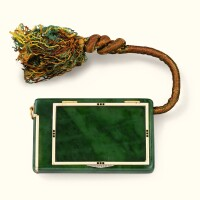 38. a jewelled gold, enamel and nephrite cigarette and vesta case, gustave renault for cartier, circa 1910 |