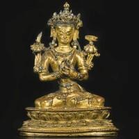 707. a gilt-bronze figure depicting vajradhara tibet, 14th/15th century