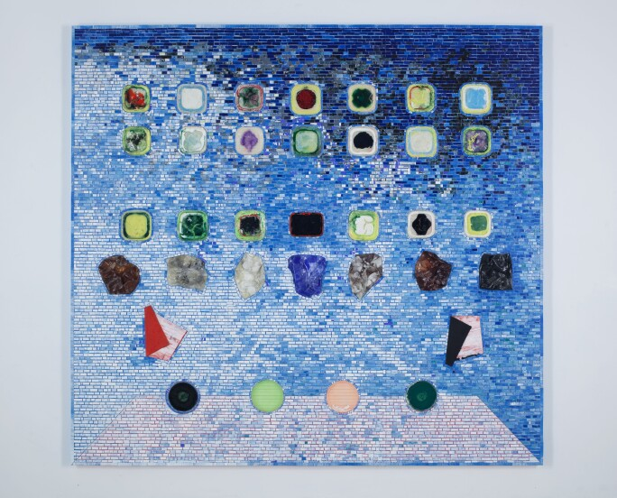 a blue collage work by jack whitten