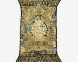 106. an embroidered silk thangka depicting vajrasattva and prajnaparamita ming dynasty, yongle period |