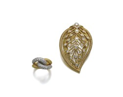 45. gold and diamond ring and a gold and diamond brooch, cartier