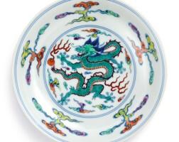 3602. 清雍正 鬪彩靈芝雲龍紋盤 《大清雍正年製》款 |