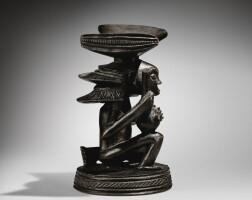 141. appuie-tête, luba-shankadi, attribué au maître de la coiffure en cascade, république démocratique du congo  