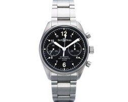 1. bell & ross | vintage 126a stainless steel automatic chronograph wristwatch with date and bracelet circa 2001