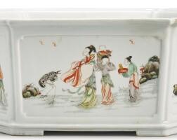 109. a famille-verte hexagonal jardiniere qing dynasty, kangxi period
