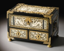 3. a rare gilt-bronze mounted ebony and ivory casket, the plaques ceylon third quarter 16th century, the mounts italian late 16th century |