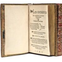 105. marot, clément. les œuvres (l'adolescence clémentine). paris, lotrian. 1542. 2 vols in-16. maroquin rouge.