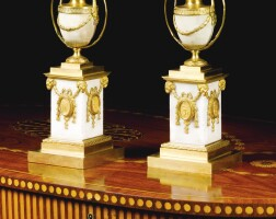 352. a pair of george iii ormolu mounted white marble candle vases attributed to matthew boulton, circa 1775