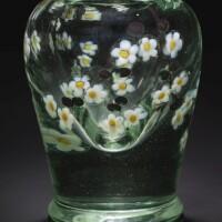 "336. tiffany studios | ""apple blossom"" aquamarine vase"