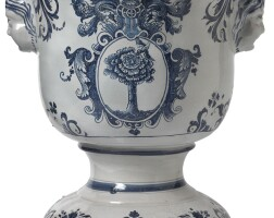 6. a continentalfaïence blue and white footed large jardinière late 18th century