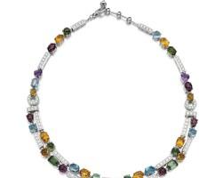 13. gem set and diamond necklace, 'allegra', bulgari