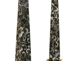 35. a pair of neoclassical style marble gilt-bronze mounted obelisks |