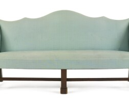6027. very fine and rare chippendale mahogany double-peak camel-back sofa, philadelphia, circa 1770