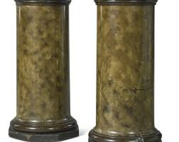 10. a pair of george ivfaux marblecolumnar pedestals