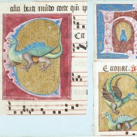 34. seven illuminated initials from an antiphonary, in latin [france (paris), early 16th century]
