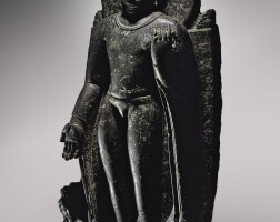 908. a large black stone figure of buddha eastern india, bihar, pre-pala, 7th century, or early pala period (c. 750-1200)   a large black stone figure of buddha