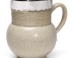 609. a john dwight, fulham salt-glazed stoneware mug, with silver mount circa 1685 |