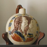 32. english prattware 'duke of york and royal sufferers' spirit flask circa 1794