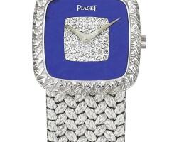 27. piaget   reference 9902 d 2 a white goldand diamond-setbracelet watch withlapis lazuli dial, circa 1982