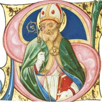 9. a bishop saint, historiated initial from a choirbook, in latin [italy (pavia), c.1500]