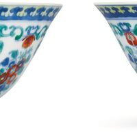 3607. a pair of doucai 'floral bouquet' bowls marks and period of yongzheng |