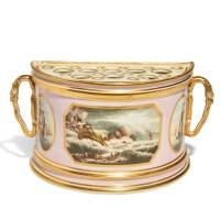 38. a derby porcelain bough pot and pierced cover, circa 1797-1800