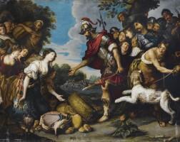 46. antwerp school, 17th century, aftertheodoor rombouts | david and abigail