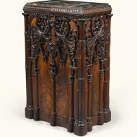 148. an italianneo-gothic carved mahogany pedestal, naples circa 1830