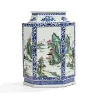 17. vase hexagonal en porcelaine bleu blanc et de la famille rose dynastie qing, fin du xviiie siècle  
