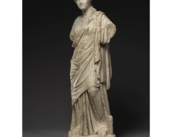 63. a marble figure of a muse, roman imperial, circa 2nd century a.d.