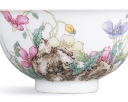 1. an extremely fine and magnificent imperial falangcai 'poppy' bowl blue-enamel mark and period of qianlong |