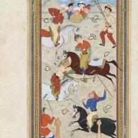 8. miniature avec un frontispice provenant d'un manuscrit persan : kitab subhat al-abrar de nur al-din abd al-rahman jami (1414-1492), chiraz, art safavide, deuxièmemoitié du xvième siècle