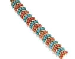 11. 18 karat gold, turquoise, coral and diamond bracelet