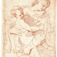 21. bolognese school, circa 1700   study of a mother and child