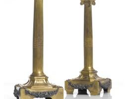 7. a pair of louis xvi silver-mounted ormolu candlesticks circa 1780