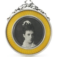 6. a russian gilded silver and transparent enamel photograph frame, andrei gurianov, st. petersburg, 1908-1917