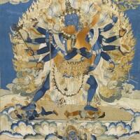405. a finely embroidered thangka depicting chakrasamvara andvajravarahi china, qing dynasty, 18th century