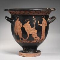 69. an early apulian red-figured bell krater, attributed to the sisyphus painter, circa late 5th century b.c.
