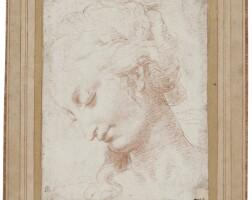 12. circle of antonio allegri, called correggio | study of the head of a woman, looking down