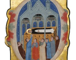 11. the tomb of st. dominic (d. 1221), large historiated initial on a cutting from an illuminated manuscript choirbook, on vellum