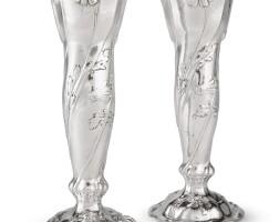 31. a pair of american silver vases, martelé, gorham mfg. co., providence, ri, 1914  