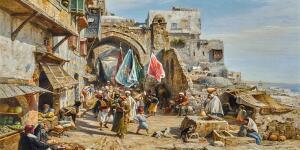 Gustav Bauernfeind's Monumental Market Scene in Jaffa